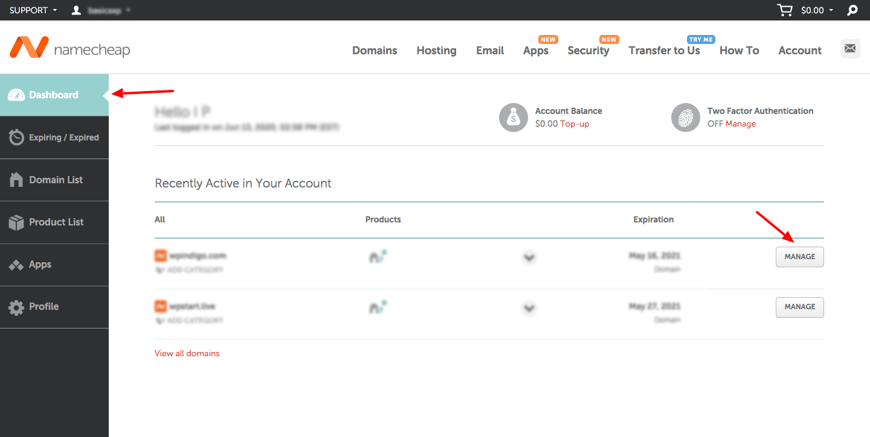 Namecheap-account-dashboard