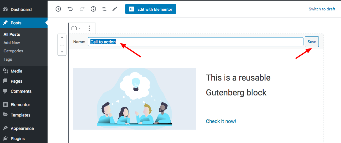 Save reusable Gutenberg block