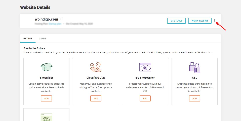 SiteGround-account-website-details