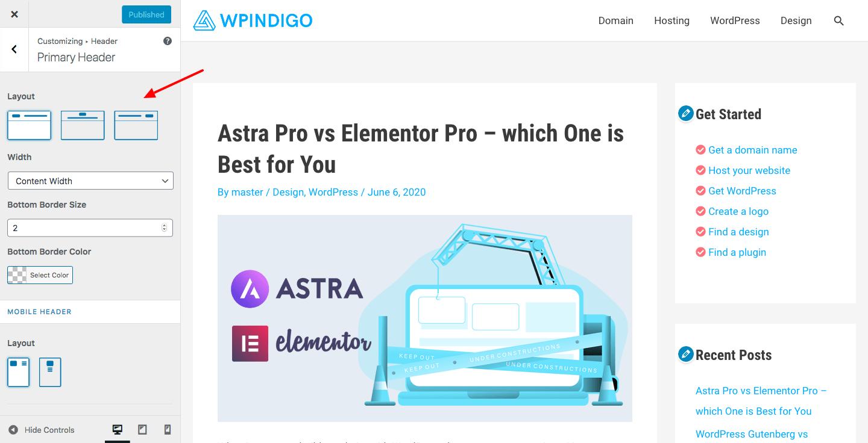 wp astra customizer