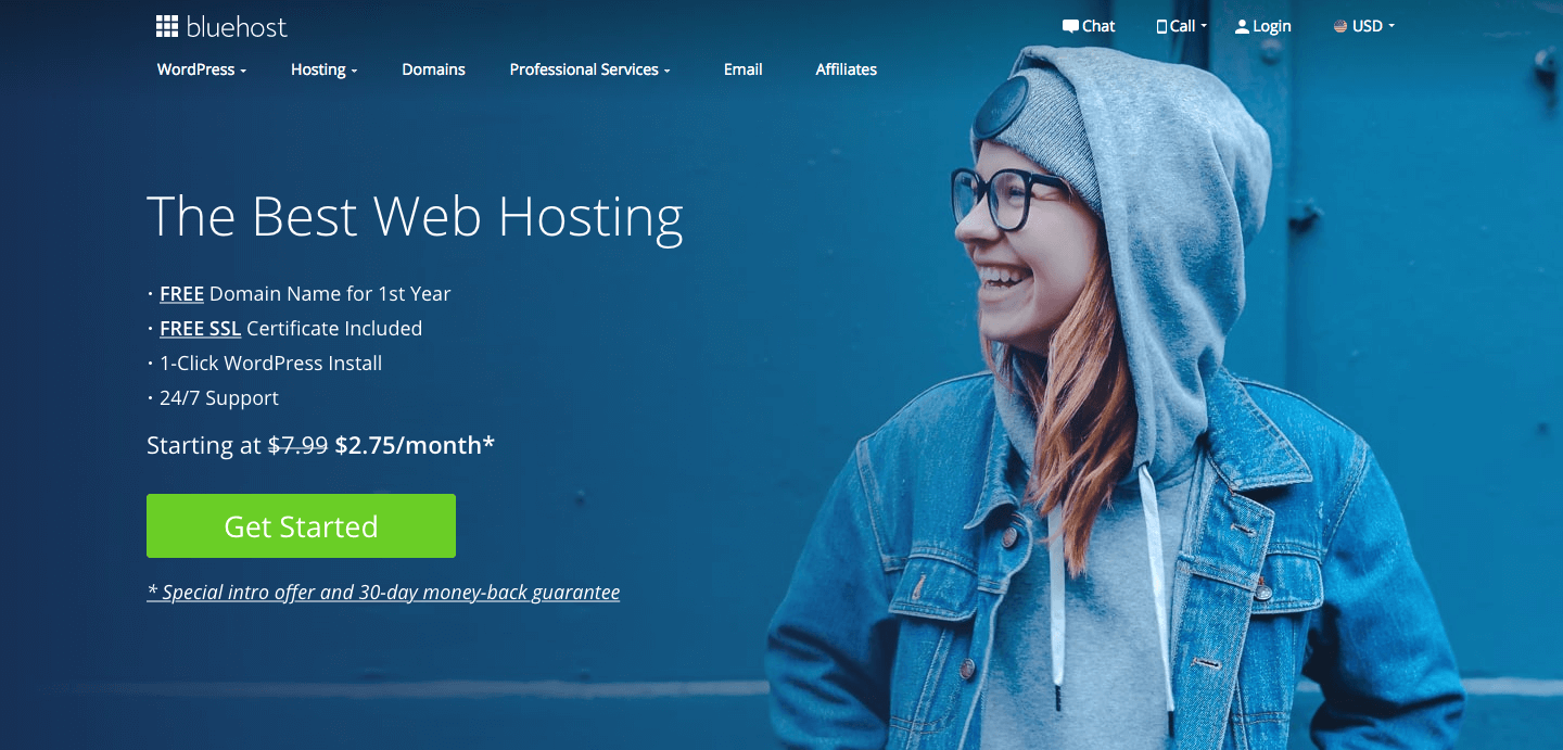 Bluehost website homepage