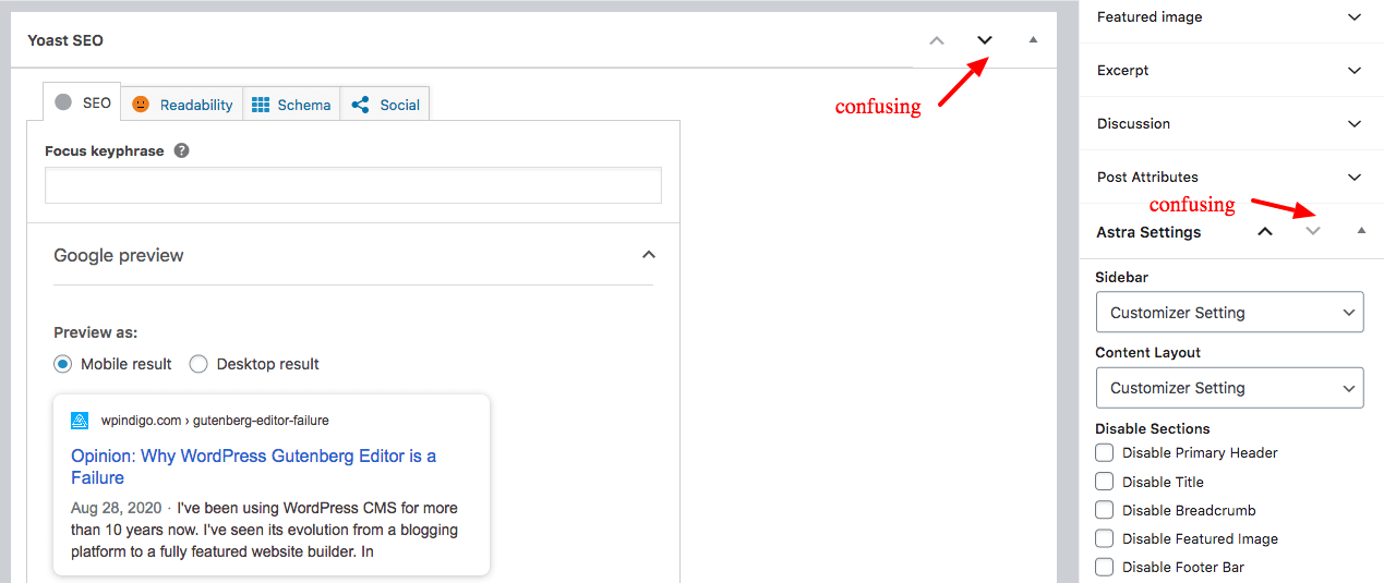 gutenberg confusing icons