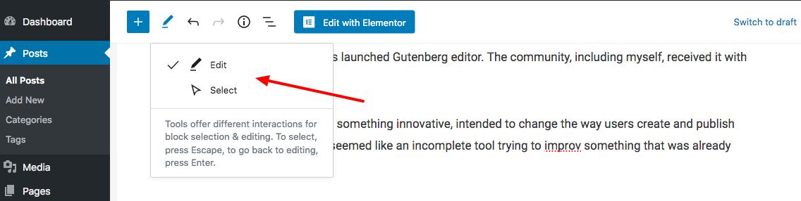 gutenberg edit-select options