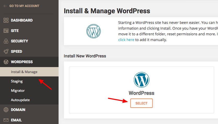install wordpress siteground account