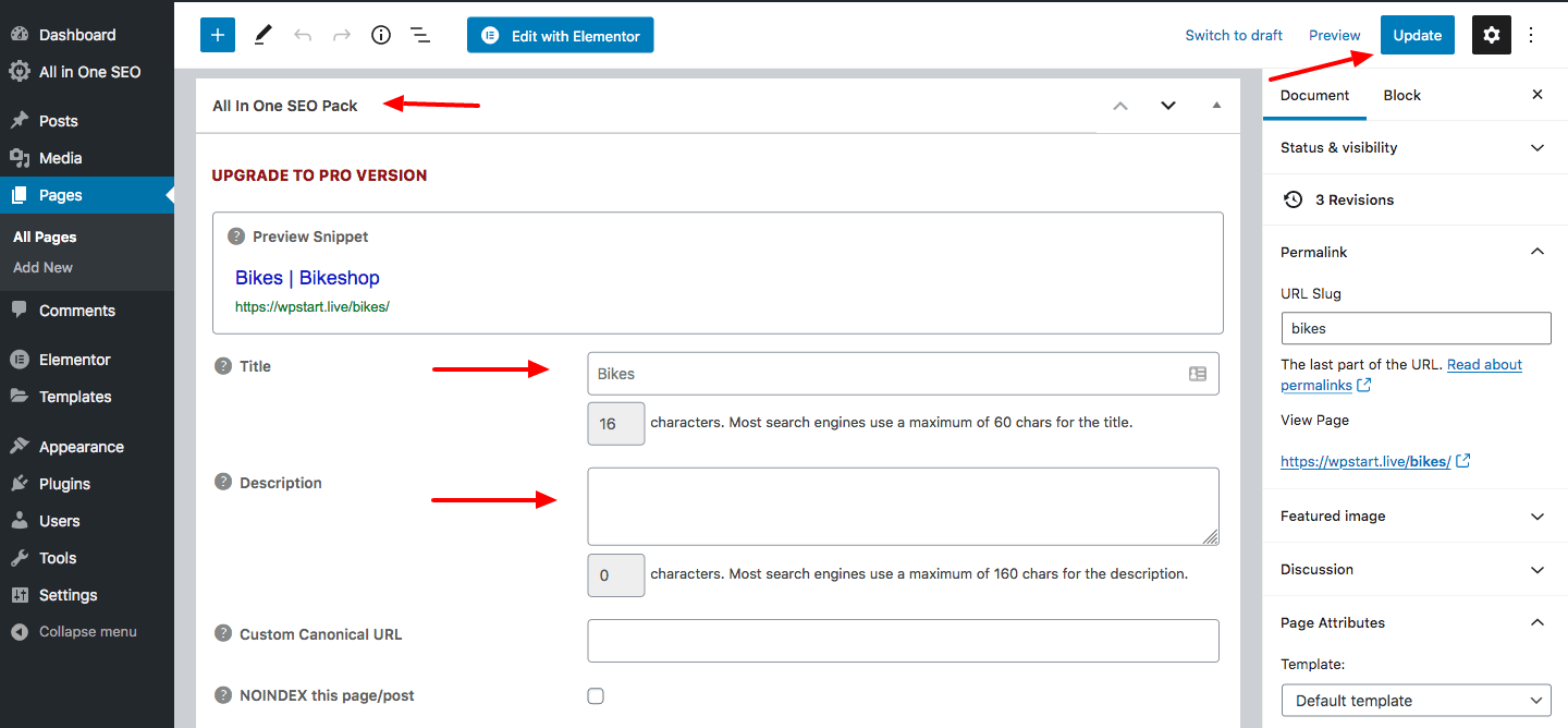 edit title and description in All in One SEO pack