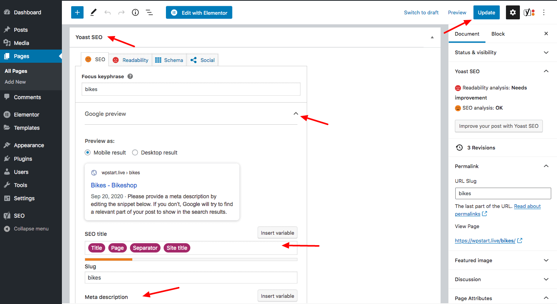 edit title and description in Yoast SEO