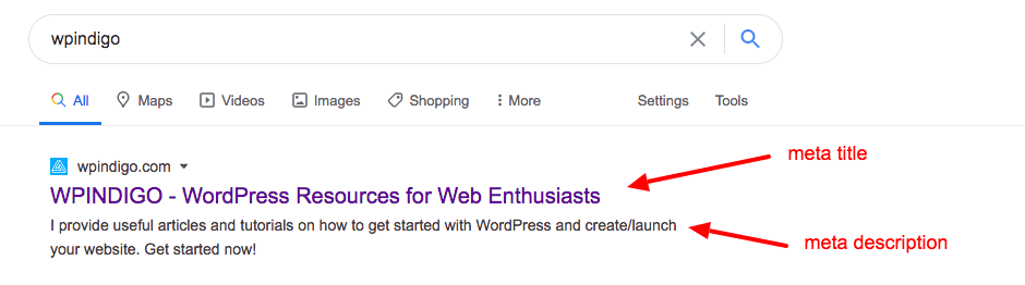 meta title and description in Google serp