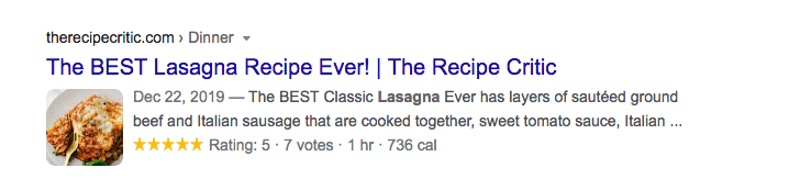 example of recipe rich snippet
