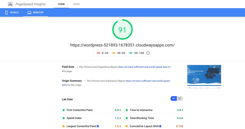 PageSpeed Insights desktop score kadence theme