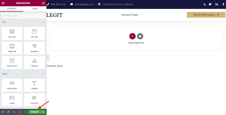 Elementor publish header