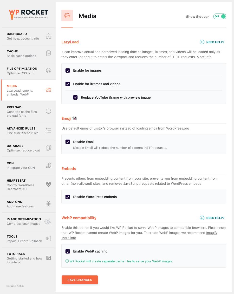 WP Rocket media settings