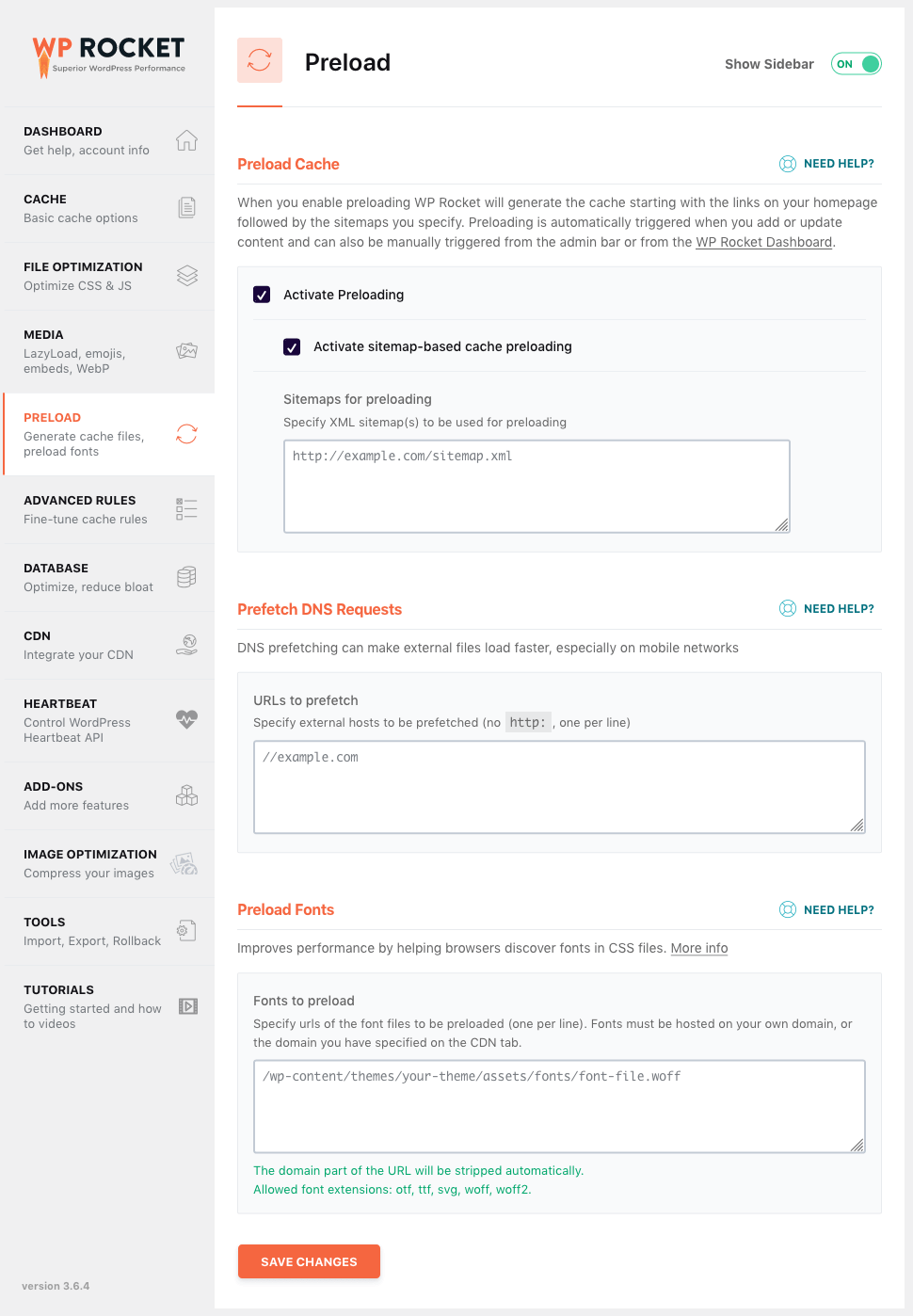 WP Rocket preload settings