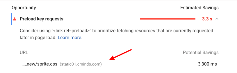 PageSpeed Insights preload key requests