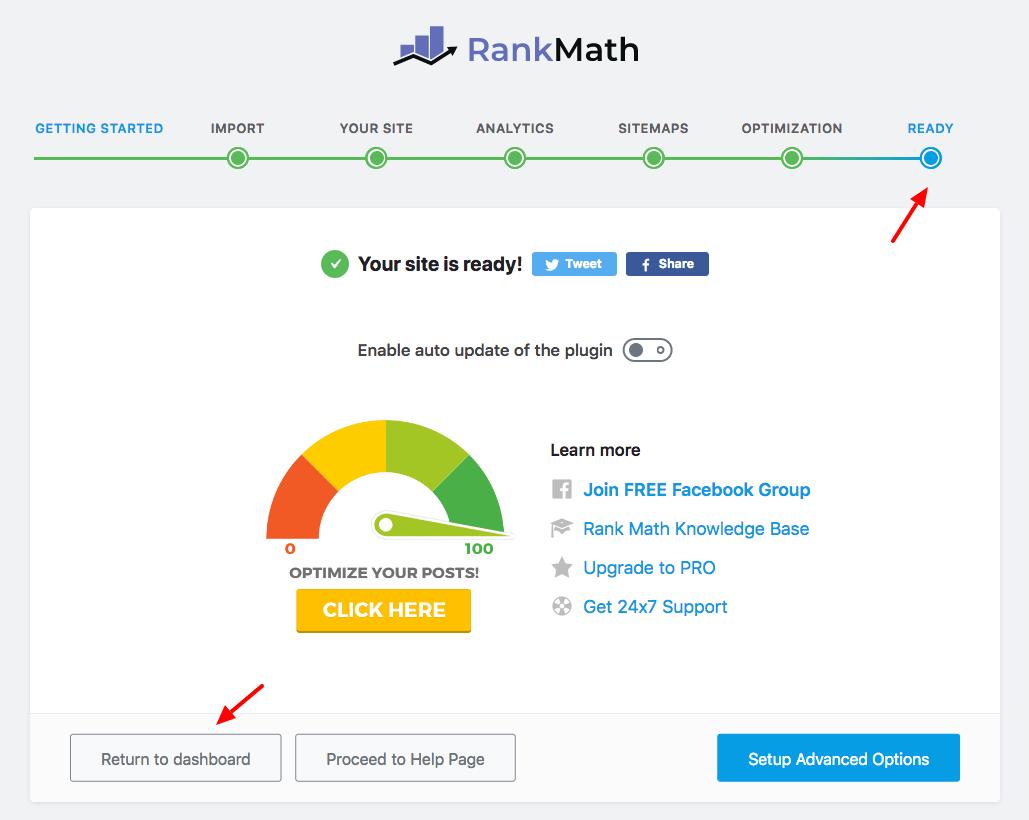 rank math setup ready