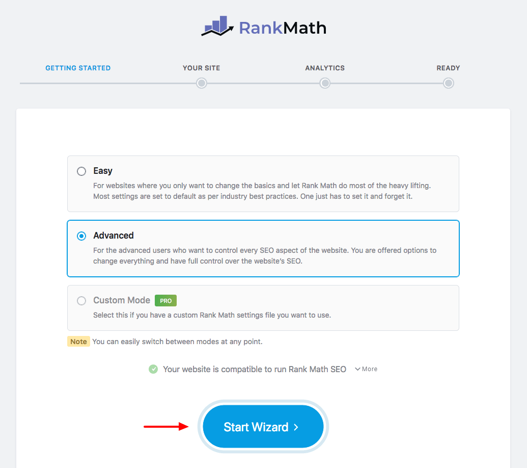 rank math start wizard