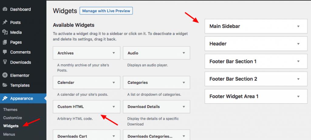 add custom html widget wordpress