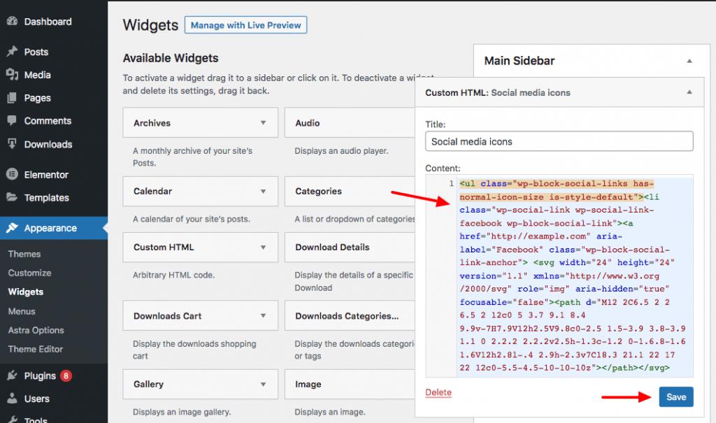 paste code to html widget wordpress