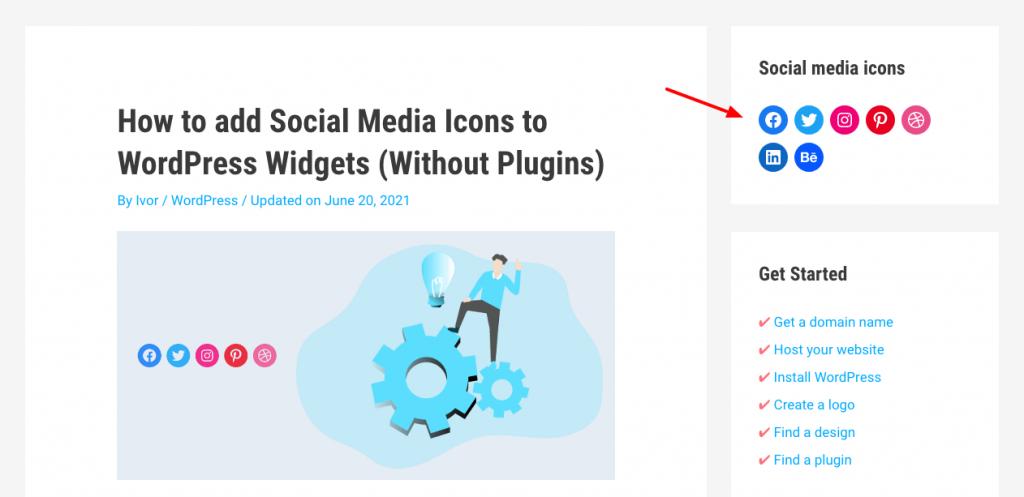 social media icons in sidebar wordpress