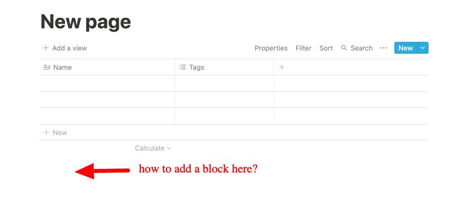 notion table add block below